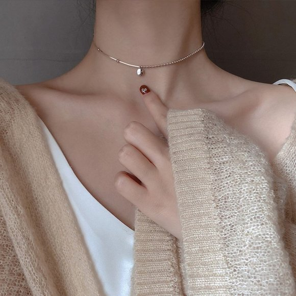 *NEW Rose Gold/Sterling Silver Lucky Bead Necklace